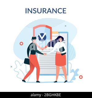 Flat Metaphor Poster Presenting Insurance Services. Cartoon Male Customer and Female Agent Shaking Hands over Huge Safe Contract Agreement. Security a - Stock Photo