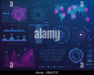 Futuristic hud interface. Science future tech vector ui with infographic elements. Vector digital interface, futuristic display with virtual hologram illustration - Stock Photo