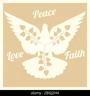 Grunge background with flying dove and branches silhouettes banner and poster. Vector illustration - Stock Photo