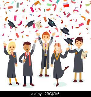 Smiling graduates and colorful confetti rain. Vector graduation school, student graduate college illustration - Stock Photo