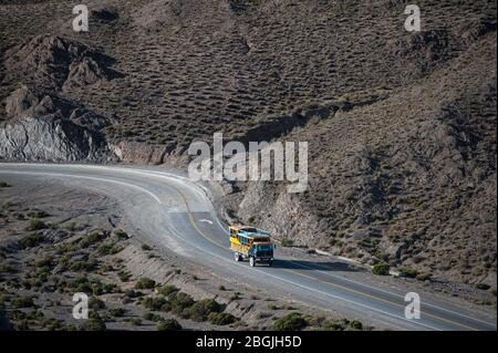 San Antonio de los Cobres, Salta, Argentina - August 31 2012: View of the truck coming back from San Antonio de los Cobres to Salta city and the lands - Stock Photo