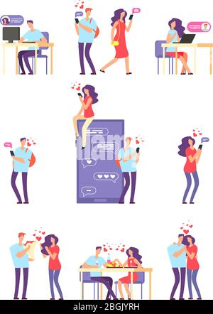 Online romantic dating. Man and woman, cute couple using mobile application for talking and love relationship. Vector concept. Dating and love, online man and woman relationship illustration