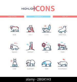 Different mammals - modern line design style icons set