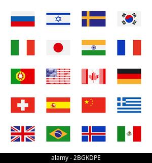 Flags icons in flat style. Simple vector flags of the countries - Stock Photo