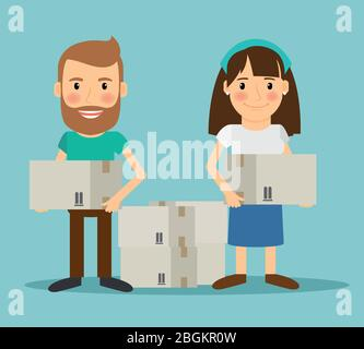 Young couple moving. Man and woman with boxes in their hands. Vector illustration. - Stock Photo