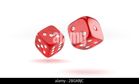 Falling red casino dice on white background. - Stock Photo