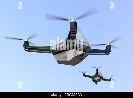 Electric Security Drones flying in the sky. 3D rendering image.