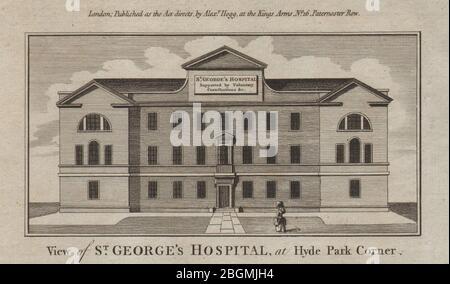 St George's Hospital Hyde Park Corner, now the Lanesborough Hotel. THORNTON 1784 - Stock Photo