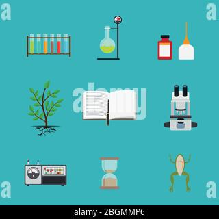 Biology flat icons. Biology laboratory workspace and science equipment. Vector illustration - Stock Photo