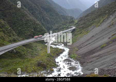 Majestic bridge over the river at Arthur´s Pass New Zealand