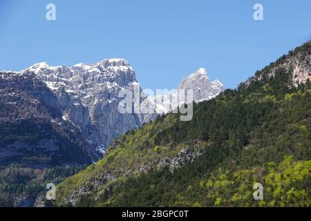 Molveno lake is a beautiful magical place in the Italian Alps . - Stock Photo