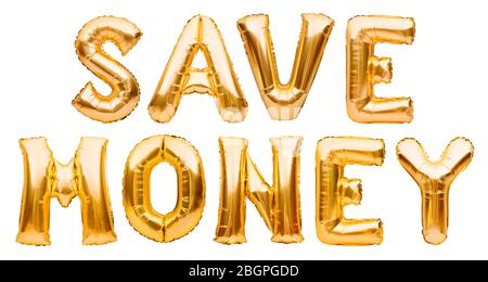 Golden words SAVE MONEY made of inflatable balloons isolated on white background. Gold foil balloon letters. Discount and advertisement, sale and