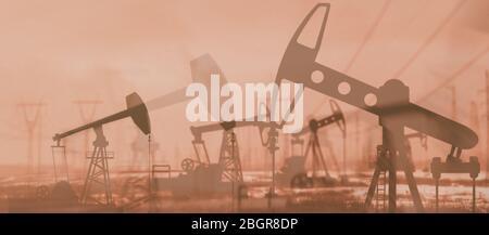 Oil derricks against the sky. Oil rig pump double exposure.