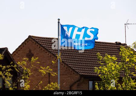 Thank you NHS flag flying at a private house during the Corona Virus, Covid-19. pandemic. Grantham, Lincolnshire, England. April 2020 - Stock Photo