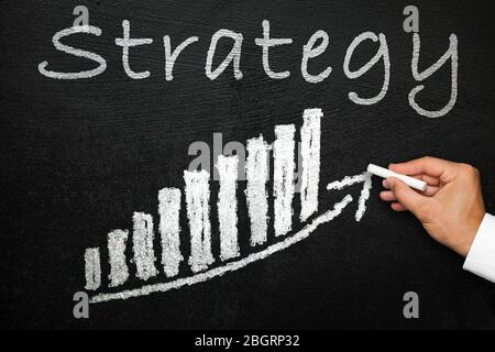 Blackboard with handwritten strategy text. Arrow going upwards and stack chart. Hand with chalk in hand. Direction and success concept.