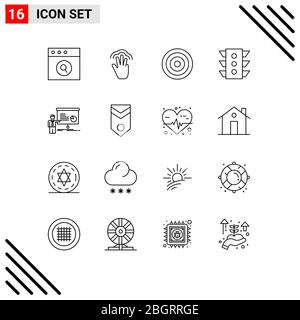 User Interface Pack of 16 Basic Outlines of graph, navigation, basic, signal, light Editable Vector Design Elements - Stock Photo