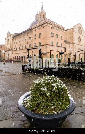 Early spring snowfall in Foligno, Umbria, Italy - Stock Photo