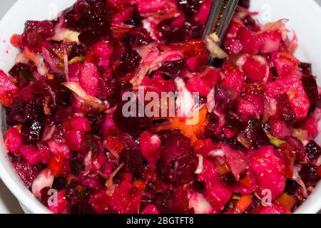 Beetroot vinaigrette in a plate on the table. Useful salad - Stock Photo