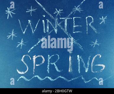 Goodbye Winter hello Spring written on board - Stock Photo