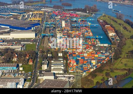 Logport I, Terminal, Container Port, 07.02.2020, aerial view, Germany, North Rhine-Westphalia, Ruhr Area, Duisburg - Stock Photo