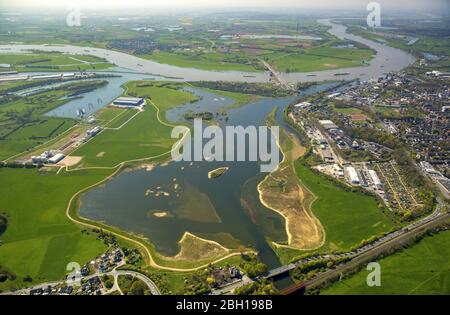 , flooded riverbed of Lippe at mouth into the river Rhien in Wesel. 21.04.2016, aerial view, Germany, North Rhine-Westphalia, Ruhr Area, Wesel