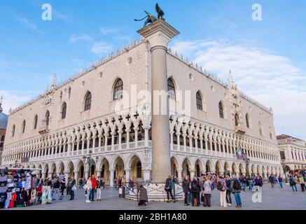Palazzo Ducale, Doge's Palace, Riva degli Schiavoni, San Marco, Venice, Italy - Stock Photo