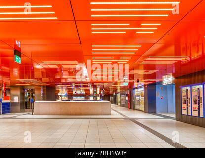 Empty basement during the day, access to subway, corona crisis, Marienplatz, Munich, Upper Bavaria, Bavaria, Germany, Europe