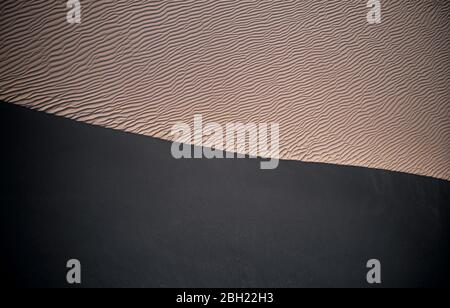 USA, California, Low-level aerial photography of Cadiz Dunes covered in wind ripples - Stock Photo