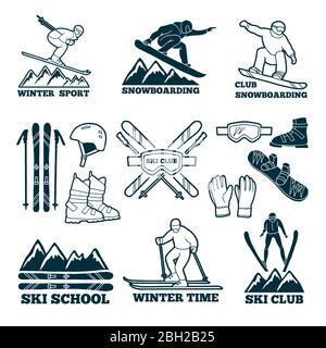Labels set for club of skier. Silhouette of ski sportsmen. Symbols of winter sport for logos design. Ski sport club badge, stick and snowboard illustr - Stock Photo