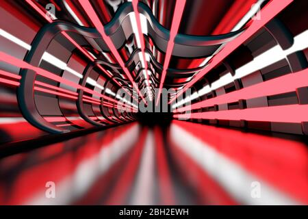 Three dimensional render of red-colored futuristic corridor - Stock Photo
