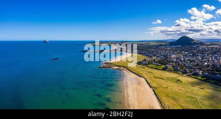 UK, Scotland, North Berwick, Aerial panorama ofFirth of Forthandseaside town in summer