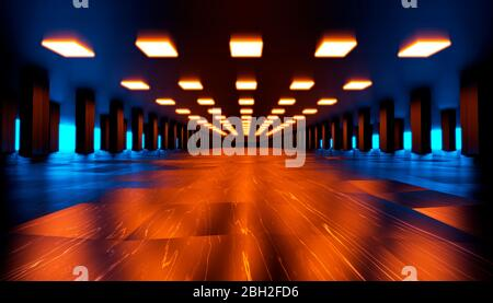 Three dimensional render of red and blue futuristic interior - Stock Photo