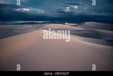 USA, California,Low-levelaerial photography of Cadiz Dunes covered in wind ripples - Stock Photo