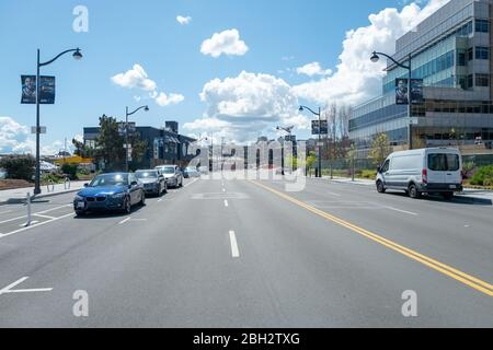 Streets were nearly empty during a shelter in place order in Mission Bay, San Francisco, California during an outbreak of the COVID-19 coronavirus, March 26, 2020. () - Stock Photo