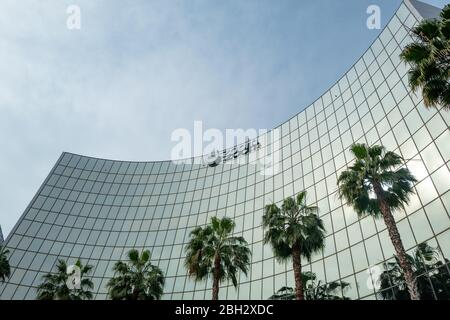 Facade with sign at headquarters of videoconferencing, remote work, and webinar technology company Zoom (ZM) in the Silicon Valley, San Jose, California, March 28, 2020. () - Stock Photo