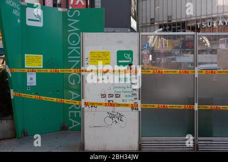 Smoking area in Shibuya, Tokyo, Japan has been closed off during an outbreak of the COVID-19 coronavirus, April 8, 2020. Photographer credit Niclas Ericsson. () - Stock Photo