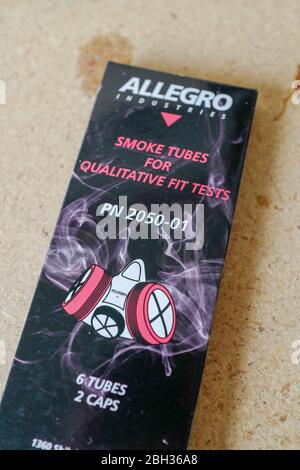 Allegro brand stannic chloride smoke tubes during fit test of N95 mask, San Ramon, California, April 17, 2020. N95 masks are commonly used in the treatment of COVID-19 coronavirus by medical professionals, and are often fit tested before use with infectious patients. Stannic chloride is typically used for N100 masks, but is shown here for illustrative purposes. () - Stock Photo