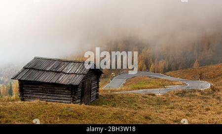 Landscape with beautiful Autumn yellow and green meadow and wooden log cabin at the valley of Passo Gardena in Dolomiti South Tyrol in Italy - Stock Photo