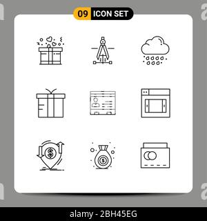 9 Universal Outlines Set for Web and Mobile Applications cards, id, drop, global, logistic Editable Vector Design Elements - Stock Photo