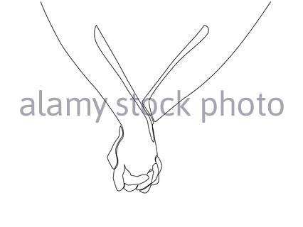 One line drawing of two adult hands holding each other together to express love and care. Romantic couple lover concept. Continuous line draw design, - Stock Photo