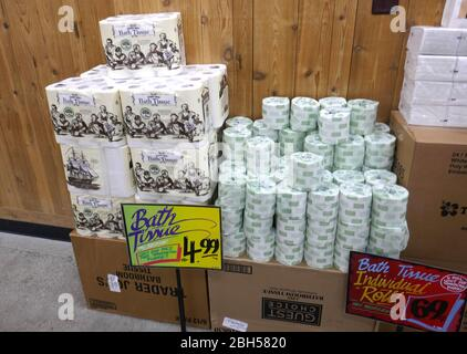 Los Angeles, California, USA 23rd April 2020 A general view of atmosphere of toilet paper back in stock at Trader Joe's on April 23, 2020 in Los Angeles, California, USA. Photo by Barry King/Alamy Live News - Stock Photo