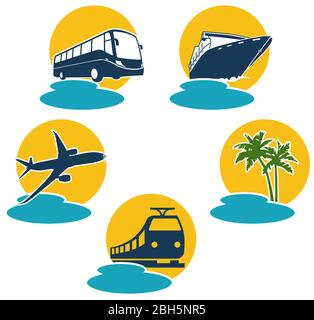 Travel by plane, bus, boat and express train - Stock Photo