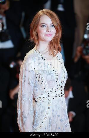 VENICE, ITALY - AUGUST 30: Emma Stone attend the red carpet of the 'The Favourite' screening during the 75th Venice Film Festival - Stock Photo