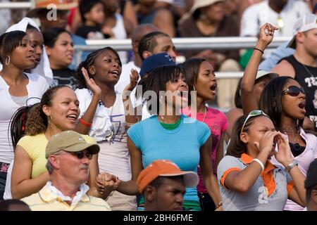 Austin, TX. May 10, 2008: Fans in the stands cheer on competitors at the Texas state UIL High School Track meet at the University of Texas at Austin. ©Bob Daemmrich - Stock Photo