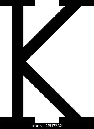 Kappa greek symbol capital letter uppercase font icon black color vector illustration flat style simple image - Stock Photo