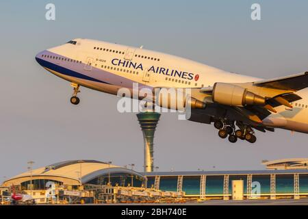 Guangzhou, China – September 23, 2019: China Airlines Boeing 747-400 airplane at Guangzhou airport (CAN) in China.