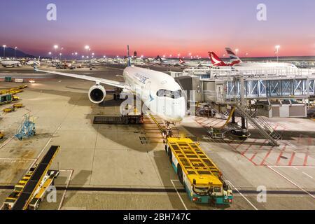 Hong Kong, China – September 20, 2019: Cathay Pacific Airways Airbus A350-900 airplane at Hong Kong airport (HKG) in China.
