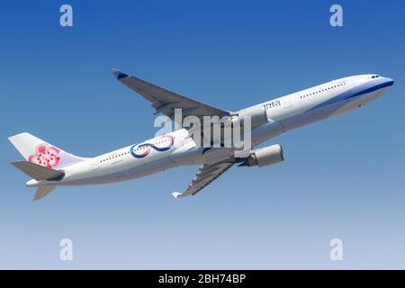 Hong Kong, China – September 20, 2019: China Airlines Airbus A330-300 airplane at Hong Kong airport (HKG) in China.