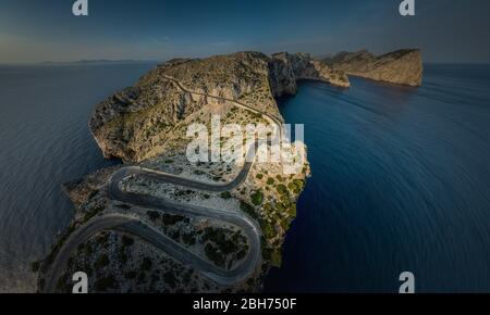 Aerial view / Panorama of a serpentine road on Mallorca in the northern mountains / Cap Formentor - Stock Photo