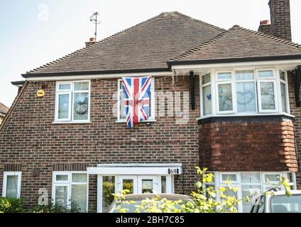 London UK Friday 24 April 2020 Messages of support for the  NHS, in homes and businesses around Sutton, South London .Paul Quezada-Neiman/Alamy Live News - Stock Photo